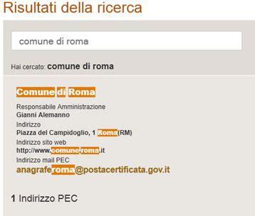 comune di roma ufficio anagrafe pec posta elettronica certificata pino bruno