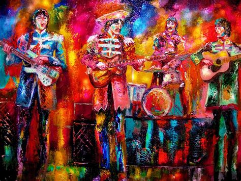 painting with hello in it beatles hello goodbye painting by leland castro