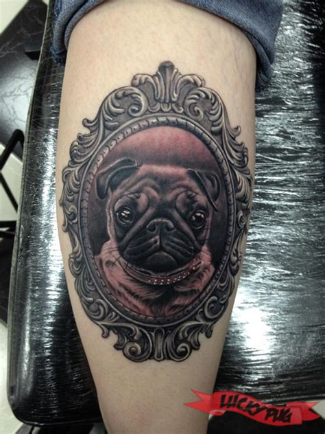 pug tattoos portrait of the pug tattooed by pete belson