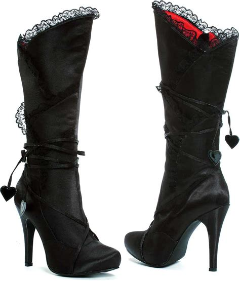Lace Trim The Knee Boots lace trim knee high lace hearts high heel