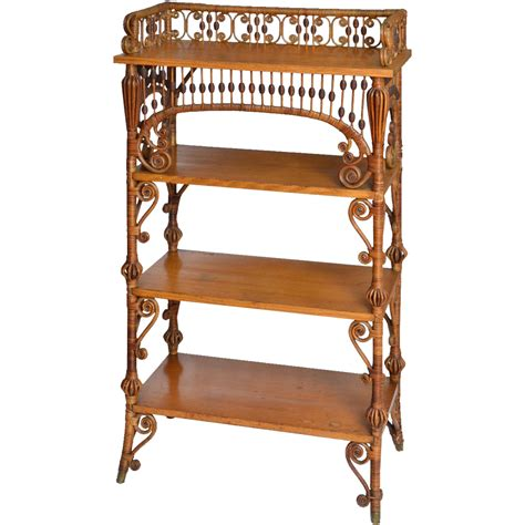 etagere vintage wakefield rattan company finish wicker etagere