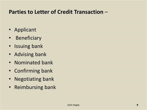 Letter Of Credit Presenting Bank Ppt Letter Of Credit Powerpoint Presentation Id 5001216