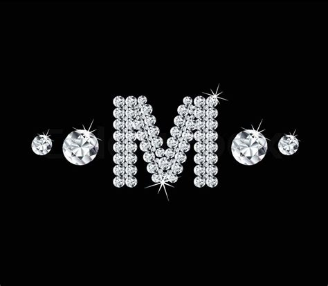 Diamond vector alphabetic letter 'M' with bright stars and ... M Letter In Diamond