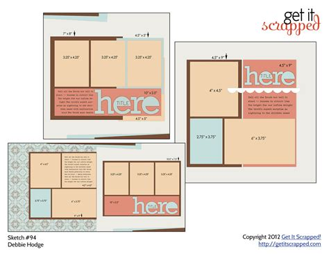 scrapbooking template scrapbook page sketch and template bundle 94