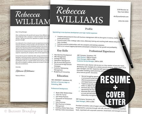 Creative Cover Letter And Resume Templates Creative Resume Template Instant Resume Cover