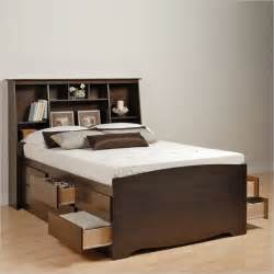 Platform Bed With Drawers And Bookcase Headboard Espresso Size Platform Storage Bed 12 Drawers