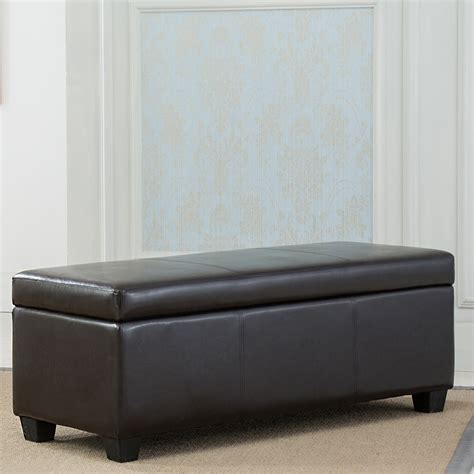 faux leather bench seat brown faux leather storage ottoman 48 quot contemporary modern