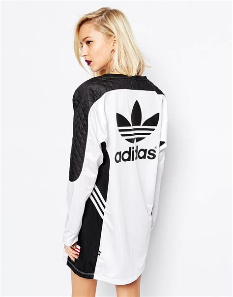 Longsleeve White Brush lyst adidas originals ora sleeve panel dress in black