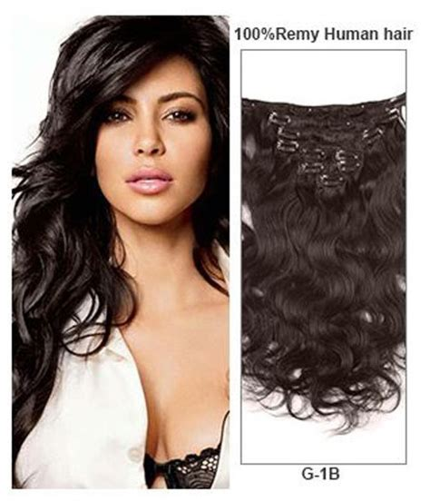 indian remy human hair clip in extensions 18 quot black 9 pieces wave clip in indian remy human