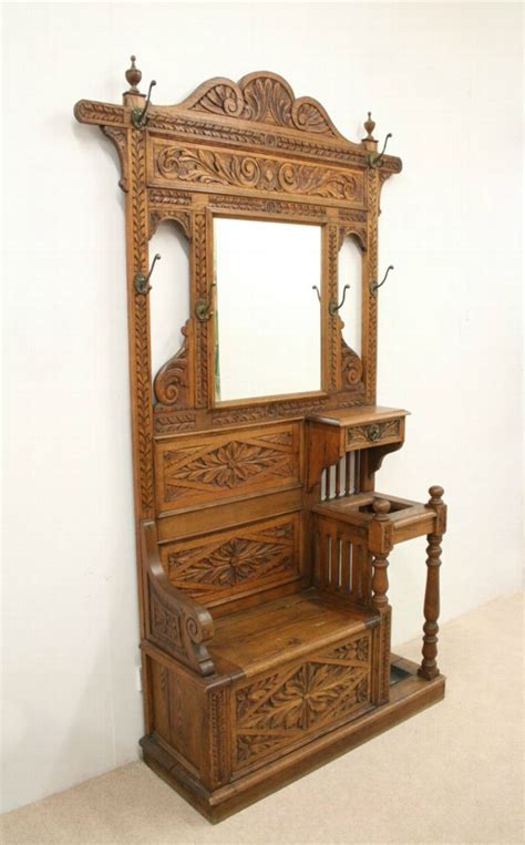 antique victorian carved oak hall stand hall bench