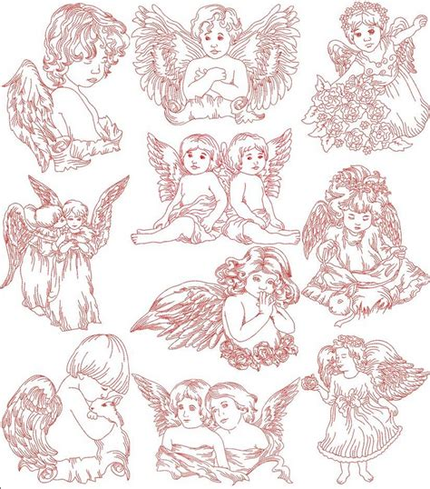 embroidery design redwork redwork little angels machine embroidery designs by sew