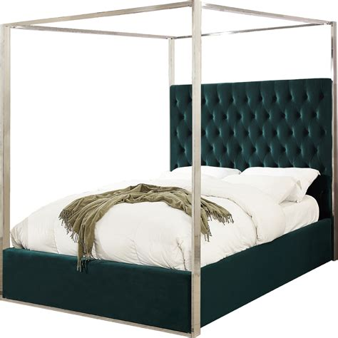 tufted canopy bed meridian furniture portergreen k porter king bed in tufted
