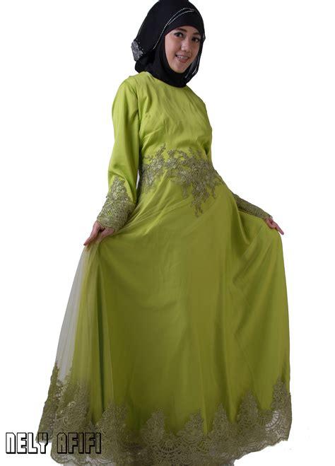 Busana Muslim Muslimah Brocade Muslimah jahit busana pesta muslimah dari dahan tulle brocade hijau