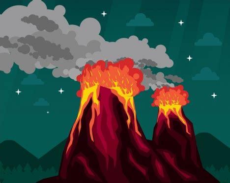 fire volcano background colored cartoon design vectors