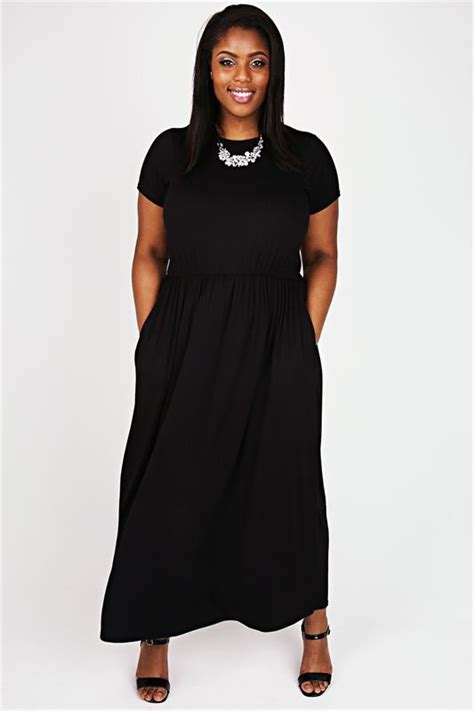 And Color Icon Blush Chagne Blushon Blush On black cap sleeved maxi dress with elasticated waist plus