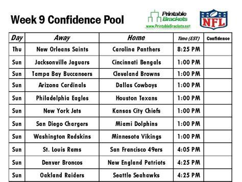 Office Football Pool Week 9 Nfl Confidence Pool Week 9 Football Confidence Pool Week 9