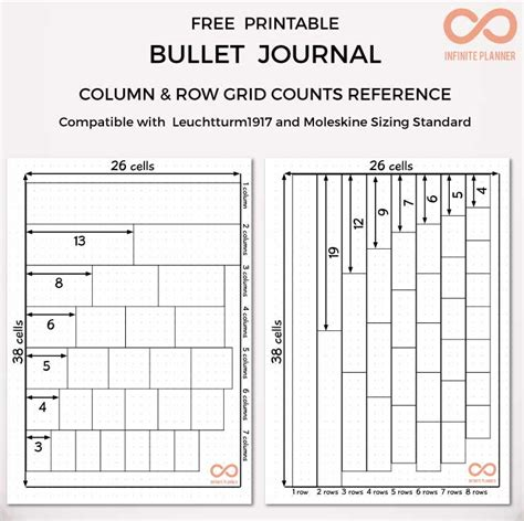 Bullet Journal Column And Row Grid Counts Reference Free Printable Infinite Planner Free Bullet Journal Templates