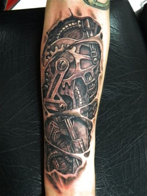 biomechanical gear tattoo sleeve arm biomechanical gear tattoo by bad apples tattoo