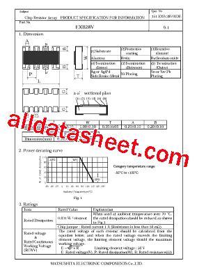 matsushita resistor network exb28v102jx datasheet pdf nais matsushita electric works