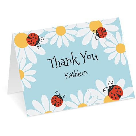 Thank You Letter Gift Card - ladybug daisy personalized thank you note cards current catalog
