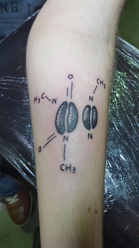 caffeine tattoo caffeine molecule by pol noir charbon mons belgium done