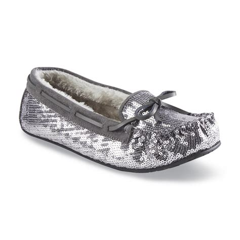 womens sequin slippers route 66 s milah pewter sequined moccasin slipper