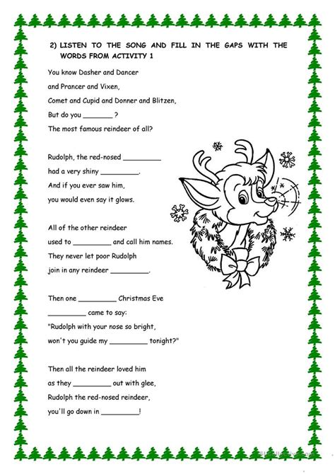 printable lyrics to rudolph the red nosed reindeer rudolf the red nosed reindeer lyrics worksheet free esl