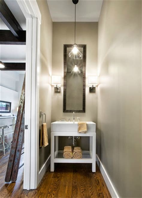 narrow powder room restoration hardware washstand contemporary bathroom