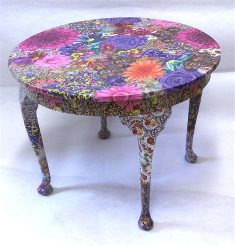 decoupage fabric on wood furniture flora table fabric decoupage project crafts