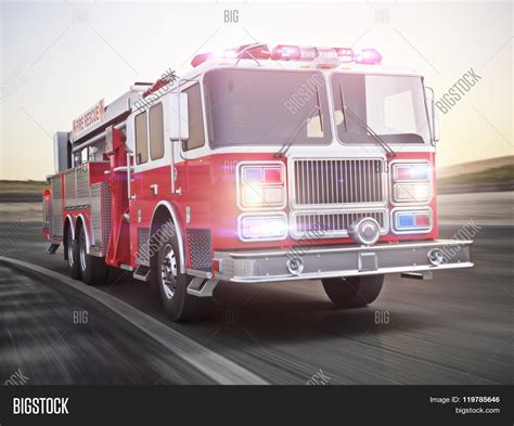 firefighter lights and sirens fire truck running lights sirens on image photo bigstock