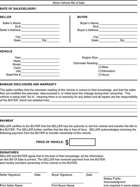motor vehicle form template kentucky bill of sale form free premium