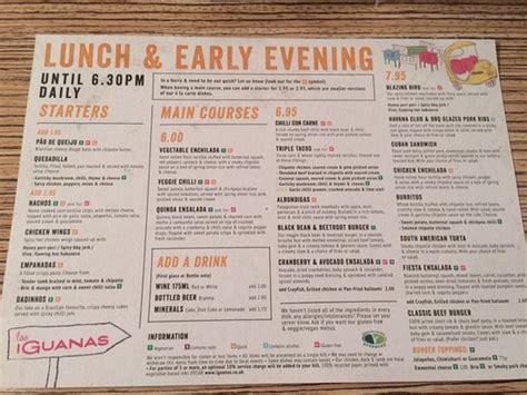 printable voucher las iguanas lunch early evening menu picture of las iguanas
