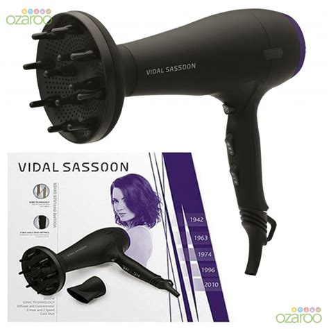 Vidal Sassoon Hair Dryer Diffuser vidal sassoon ionic professional 2000w volume antifrizz diffuser hair dryer new ebay