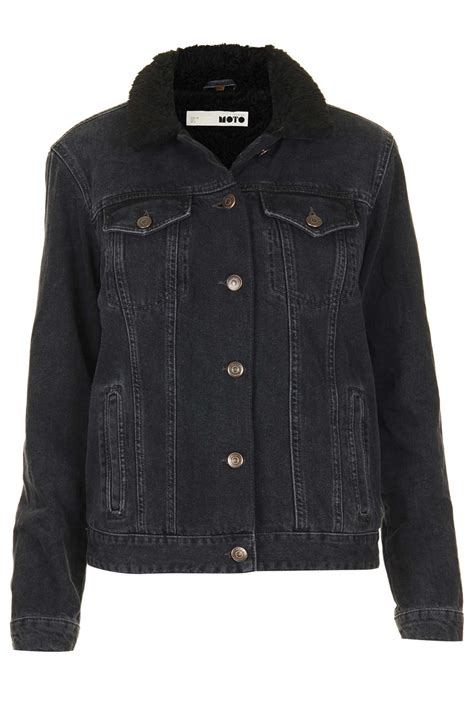 Promo Jaket Denim Hoodie Black Garment Murah topshop moto black borg denim jacket in black lyst