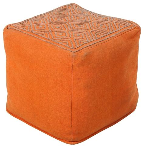 Contemporary Surya Poufs Square Orange Pouf Ottoman Modern Pouf Ottoman