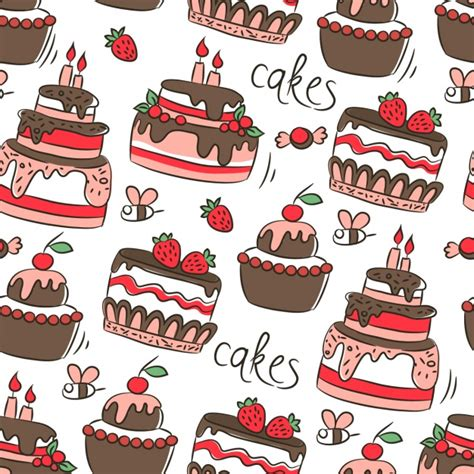 cake background pattern vector pattern with birthday cakes vector free download