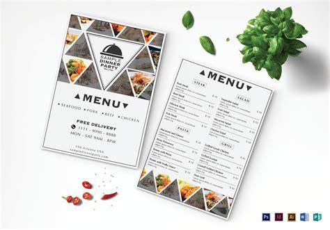 home dinner menu template triangle dinner menu design template in psd word