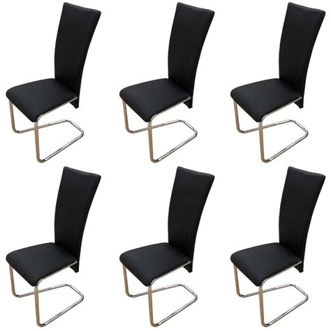 6 Black Artificial Leather Dining Chairs Vidaxl Com 6 Black Dining Chairs