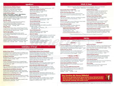 ale house menu carolina ale house menu charlotte dineries