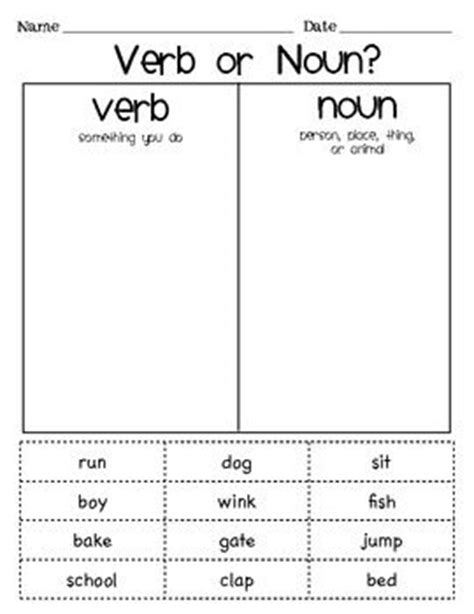 Noun And Verb Worksheet by Verb Or Noun Sort Cut And Paste Activity A Plus That The