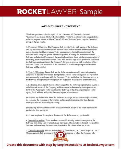 non disclosure agreement beta tester nda form with sle
