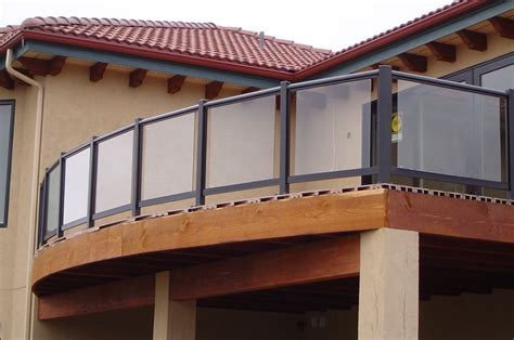 Stunning Glass Fence Balcony Black Wooden Frame Brown