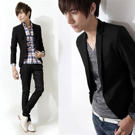 Blazer Jas Pria Slim Fit Hitam 1 S Casual Slim Fit One Button Suit Blazer Coat Jacket