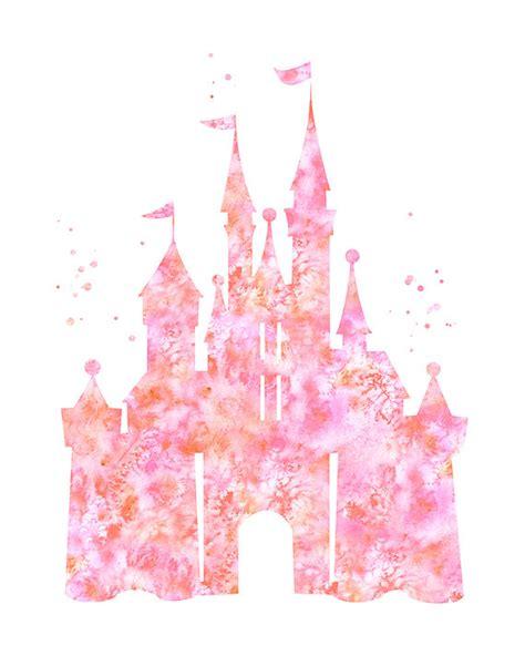 pink cinderella castle print disney castle by