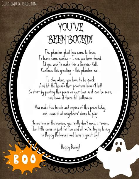 printable you ve been booed poem free halloween printable craft