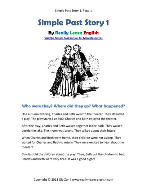 Komik Story From The Past 1 5 free printable story worksheets and answer key for the simple past tense