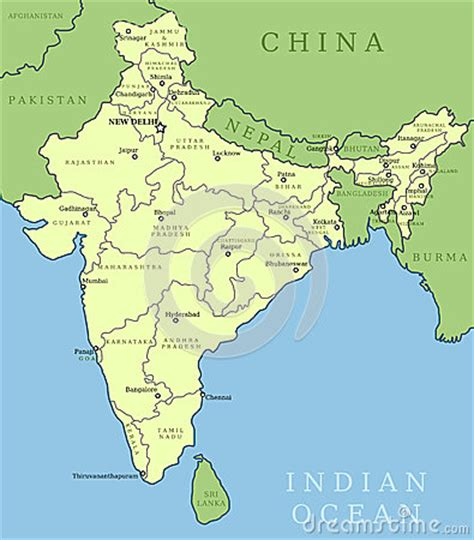 india map with country name india map royalty free stock image image 31287676