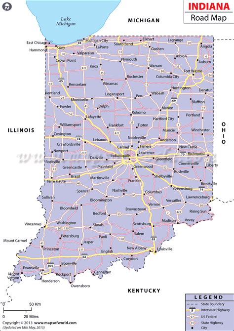road map of indiana usa indiana images usseek