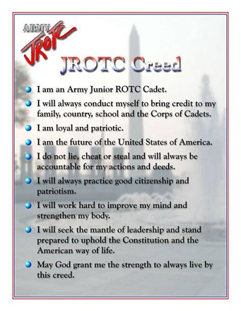 cadet reference book jrotc jrotc cadet creed