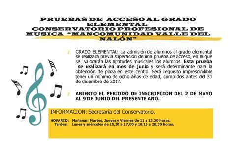 curso grado elemental logse category 187 pruebas acceso elemental 171 conservatorio